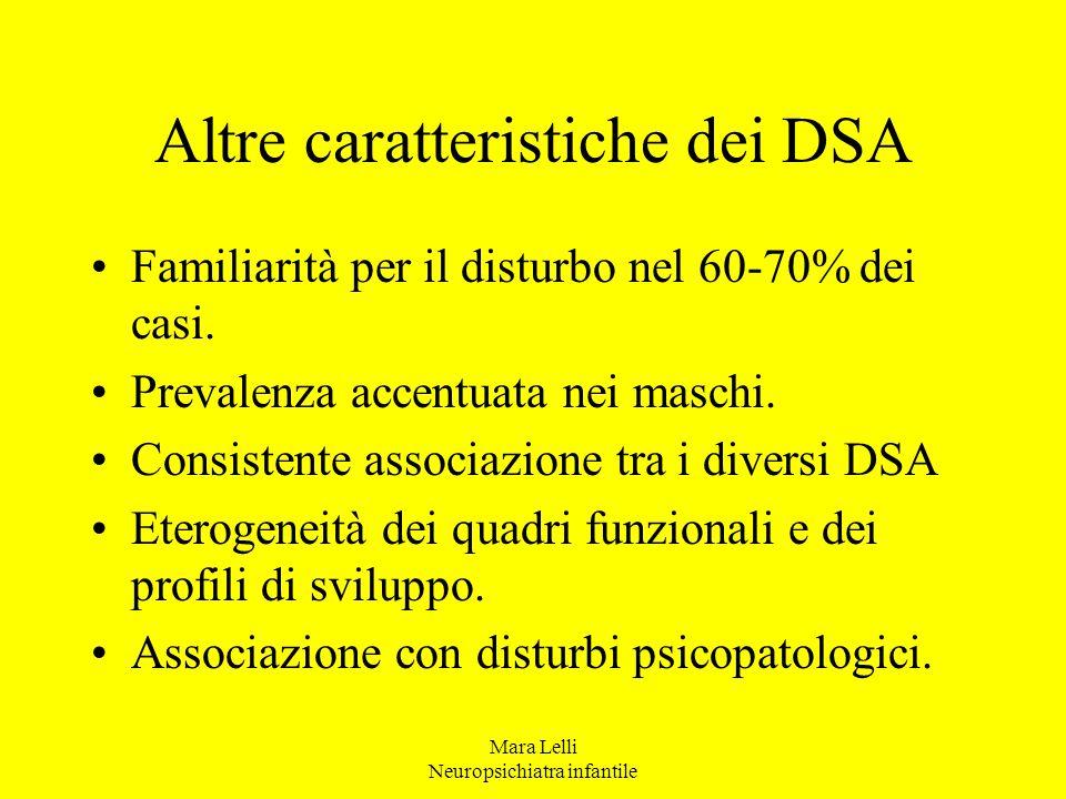 Mara Lelli Neuropsichiatra infantile Altre caratteristiche dei DSA Familiarità per il disturbo nel 60-70% dei casi. Prevalenza accentuata nei maschi.