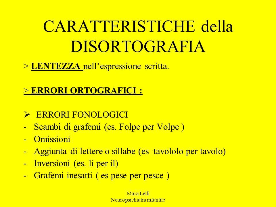 Mara Lelli Neuropsichiatra infantile CARATTERISTICHE della DISORTOGRAFIA > LENTEZZA nell'espressione scritta. > ERRORI ORTOGRAFICI :  ERRORI FONOLOGI