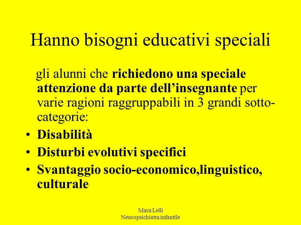 Hanno bisogni educativi speciali gli alunni che richiedono una speciale attenzione da parte dell'insegnante per varie ragioni raggruppabili in 3 grand