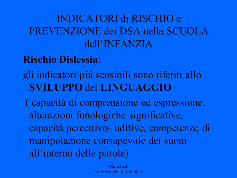 INDICATORI di RISCHIO e PREVENZIONE dei DSA nella SCUOLA dell'INFANZIA Rischio Dislessia: gli indicatori più sensibili sono riferiti allo SVILUPPO del