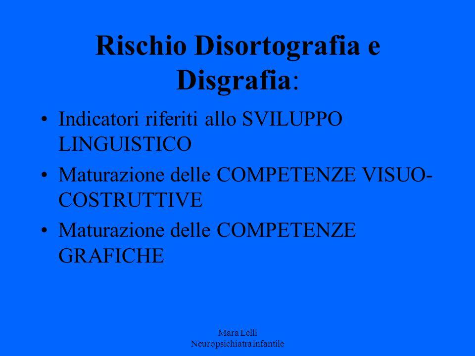 Rischio Disortografia e Disgrafia: Indicatori riferiti allo SVILUPPO LINGUISTICO Maturazione delle COMPETENZE VISUO- COSTRUTTIVE Maturazione delle COM