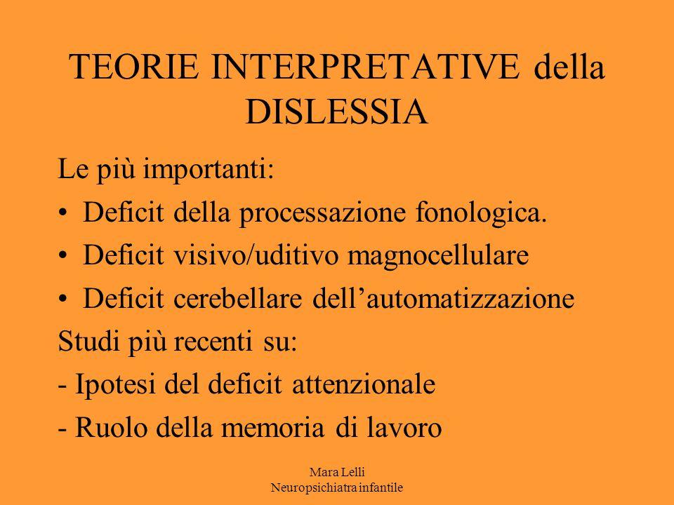 TEORIE INTERPRETATIVE della DISLESSIA Le più importanti: Deficit della processazione fonologica. Deficit visivo/uditivo magnocellulare Deficit cerebel