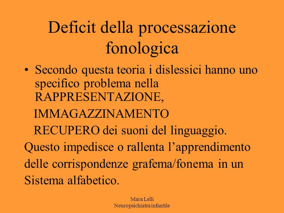Mara Lelli Neuropsichiatra infantile Deficit della processazione fonologica Secondo questa teoria i dislessici hanno uno specifico problema nella RAPP