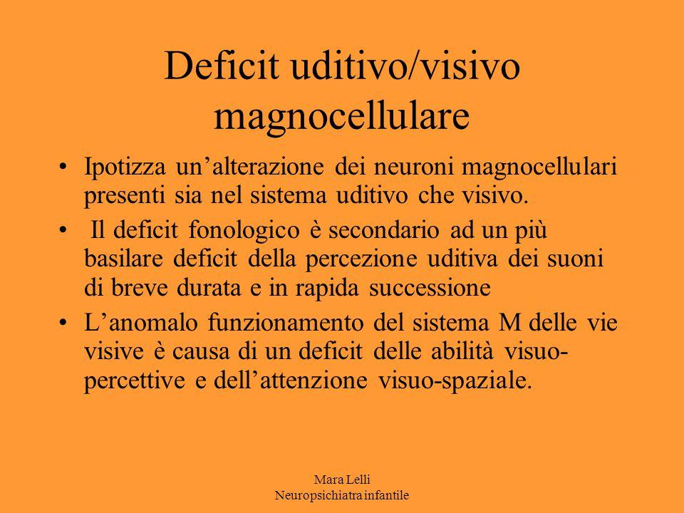 Mara Lelli Neuropsichiatra infantile Deficit uditivo/visivo magnocellulare Ipotizza un'alterazione dei neuroni magnocellulari presenti sia nel sistema