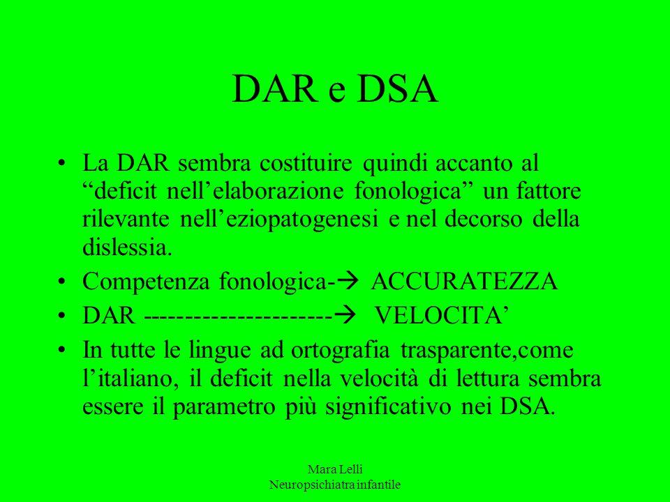 """Mara Lelli Neuropsichiatra infantile DAR e DSA La DAR sembra costituire quindi accanto al """"deficit nell'elaborazione fonologica"""" un fattore rilevante"""