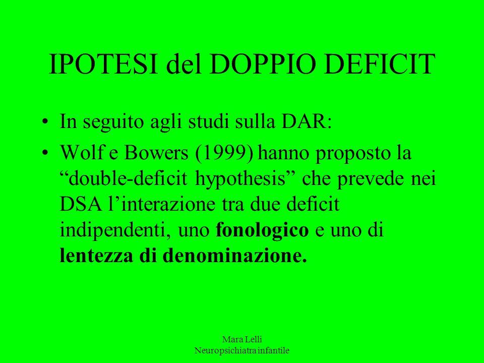 """Mara Lelli Neuropsichiatra infantile IPOTESI del DOPPIO DEFICIT In seguito agli studi sulla DAR: Wolf e Bowers (1999) hanno proposto la """"double-defici"""