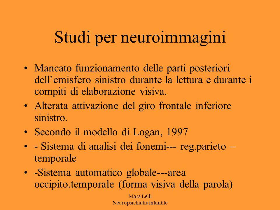 Mara Lelli Neuropsichiatra infantile Studi per neuroimmagini Mancato funzionamento delle parti posteriori dell'emisfero sinistro durante la lettura e