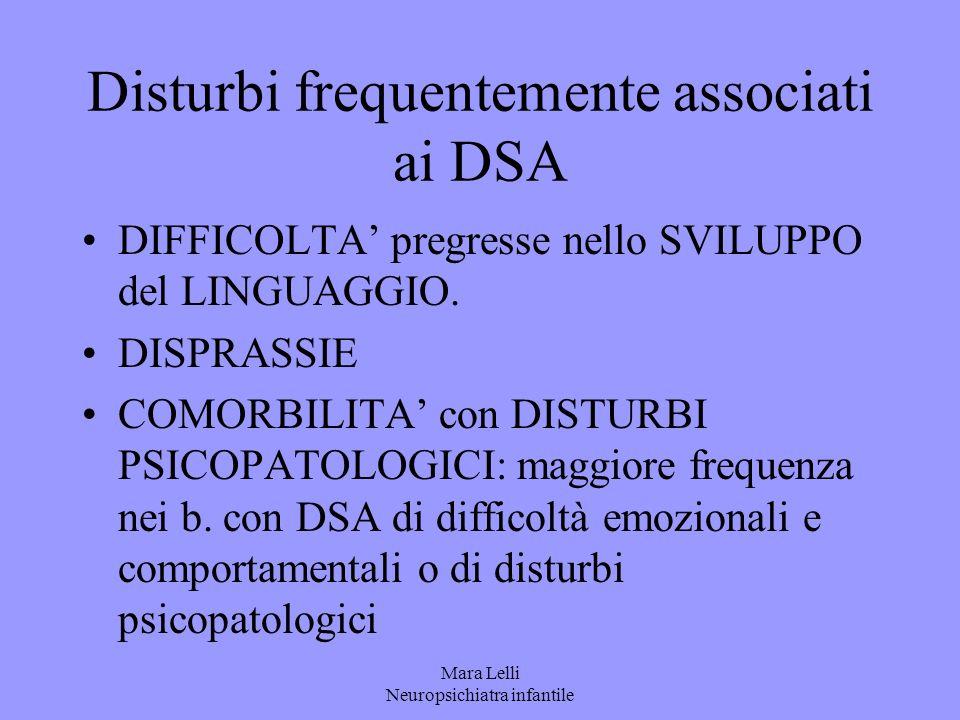 Mara Lelli Neuropsichiatra infantile Disturbi frequentemente associati ai DSA DIFFICOLTA' pregresse nello SVILUPPO del LINGUAGGIO. DISPRASSIE COMORBIL