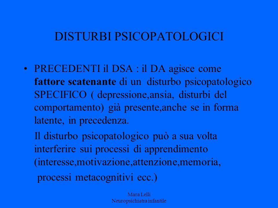 DISTURBI PSICOPATOLOGICI PRECEDENTI il DSA : il DA agisce come fattore scatenante di un disturbo psicopatologico SPECIFICO ( depressione,ansia, distur