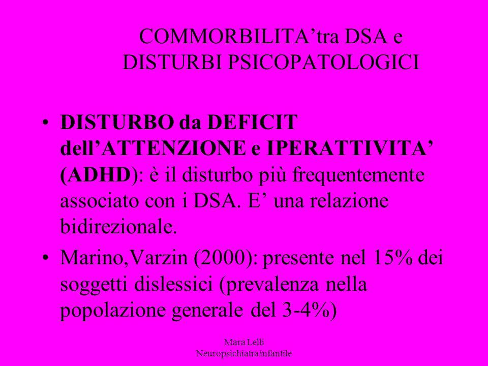 COMMORBILITA'tra DSA e DISTURBI PSICOPATOLOGICI DISTURBO da DEFICIT dell'ATTENZIONE e IPERATTIVITA' (ADHD): è il disturbo più frequentemente associato