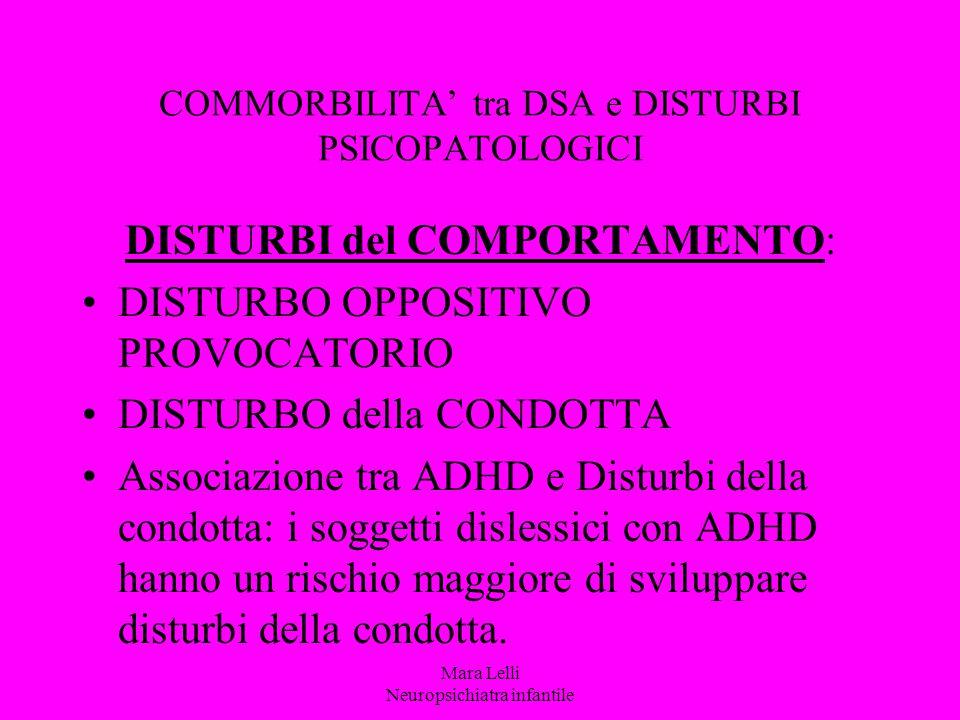 COMMORBILITA' tra DSA e DISTURBI PSICOPATOLOGICI DISTURBI del COMPORTAMENTO: DISTURBO OPPOSITIVO PROVOCATORIO DISTURBO della CONDOTTA Associazione tra