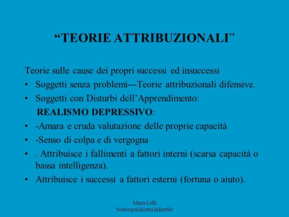 """Mara Lelli Neuropsichiatra infantile """"TEORIE ATTRIBUZIONALI"""" Teorie sulle cause dei propri successi ed insuccessi Soggetti senza problemi---Teorie att"""