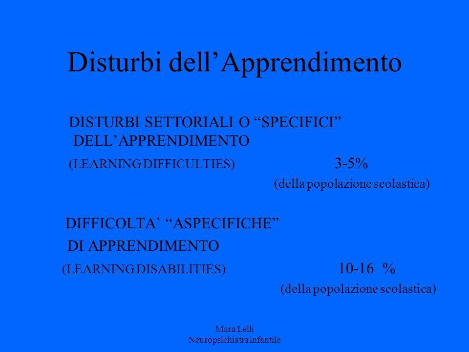 """Disturbi dell'Apprendimento DISTURBI SETTORIALI O """"SPECIFICI"""" DELL'APPRENDIMENTO (LEARNING DIFFICULTIES) 3-5% (della popolazione scolastica) DIFFICOLT"""