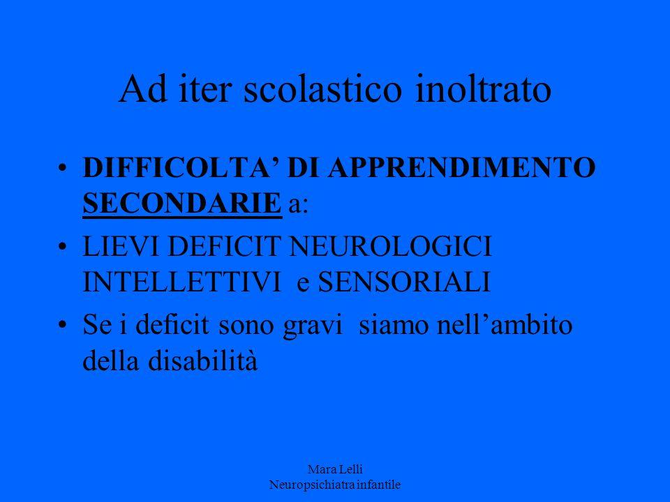Ad iter scolastico inoltrato DIFFICOLTA' DI APPRENDIMENTO SECONDARIE a: LIEVI DEFICIT NEUROLOGICI INTELLETTIVI e SENSORIALI Se i deficit sono gravi si
