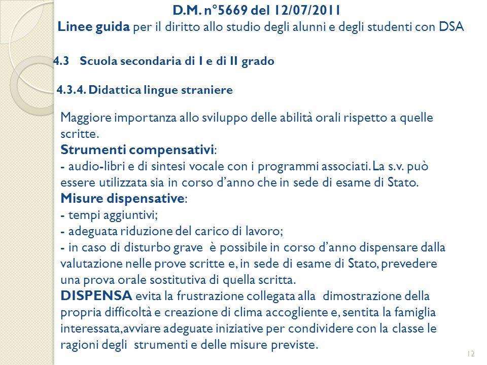 D.M. n°5669 del 12/07/2011 Linee guida per il diritto allo studio degli alunni e degli studenti con DSA 4.3 Scuola secondaria di I e di II grado 4.3.4