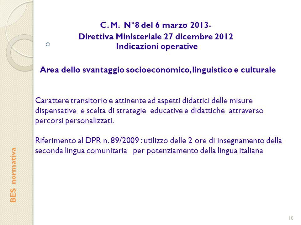  BES normativa C. M. N°8 del 6 marzo 2013- Direttiva Ministeriale 27 dicembre 2012 Indicazioni operative 18 Area dello svantaggio socioeconomico, lin