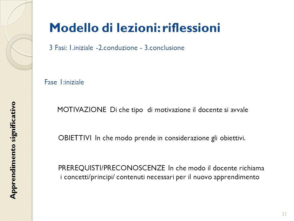 Modello di lezioni: riflessioni 3 Fasi: 1.iniziale -2.conduzione - 3.conclusione Fase 1:iniziale MOTIVAZIONE Di che tipo di motivazione il docente si