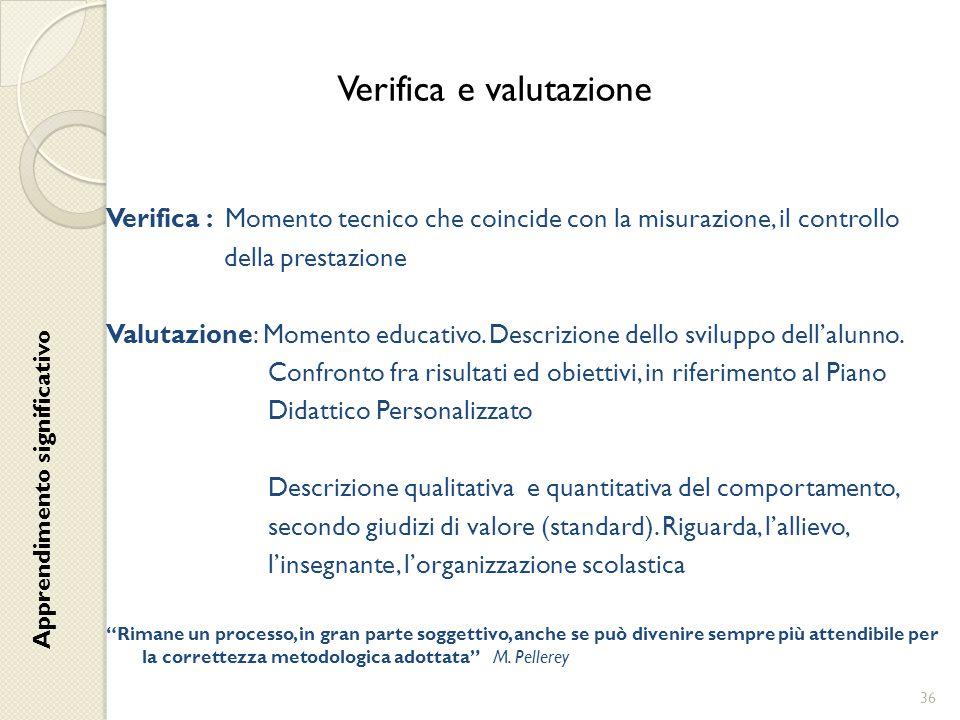 Verifica e valutazione Verifica : Momento tecnico che coincide con la misurazione, il controllo della prestazione Valutazione: Momento educativo. Desc