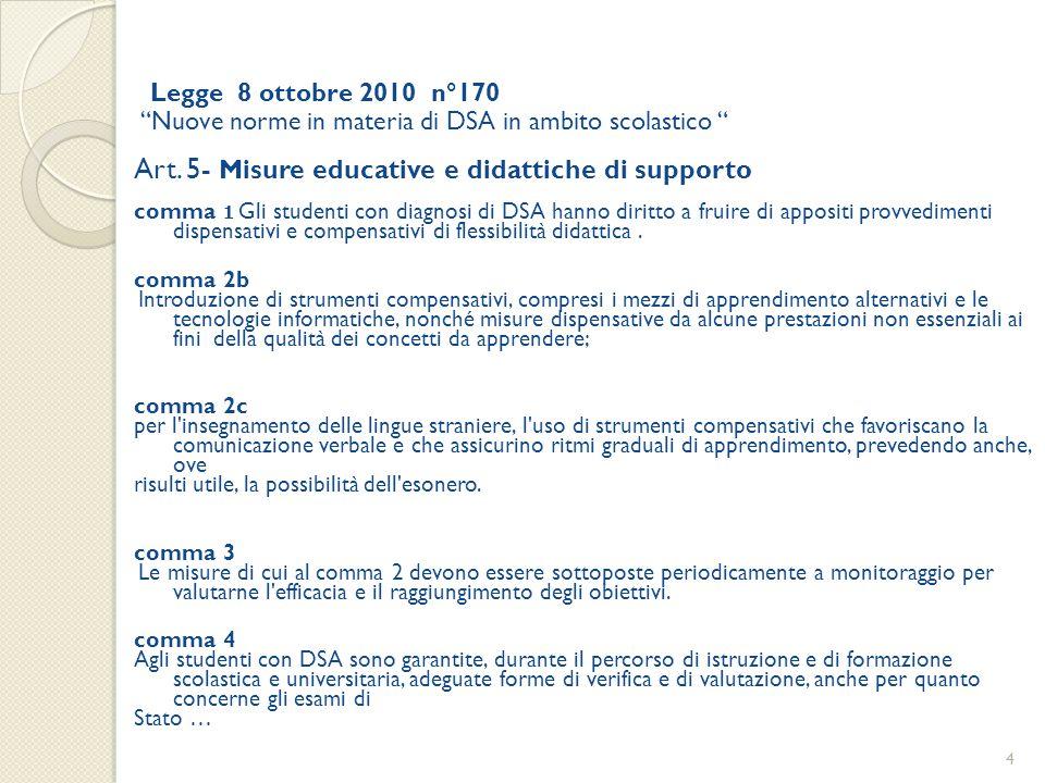 """Legge 8 ottobre 2010 n°170 """"Nuove norme in materia di DSA in ambito scolastico """" Art. 5- Misure educative e didattiche di supporto comma 1 Gli student"""