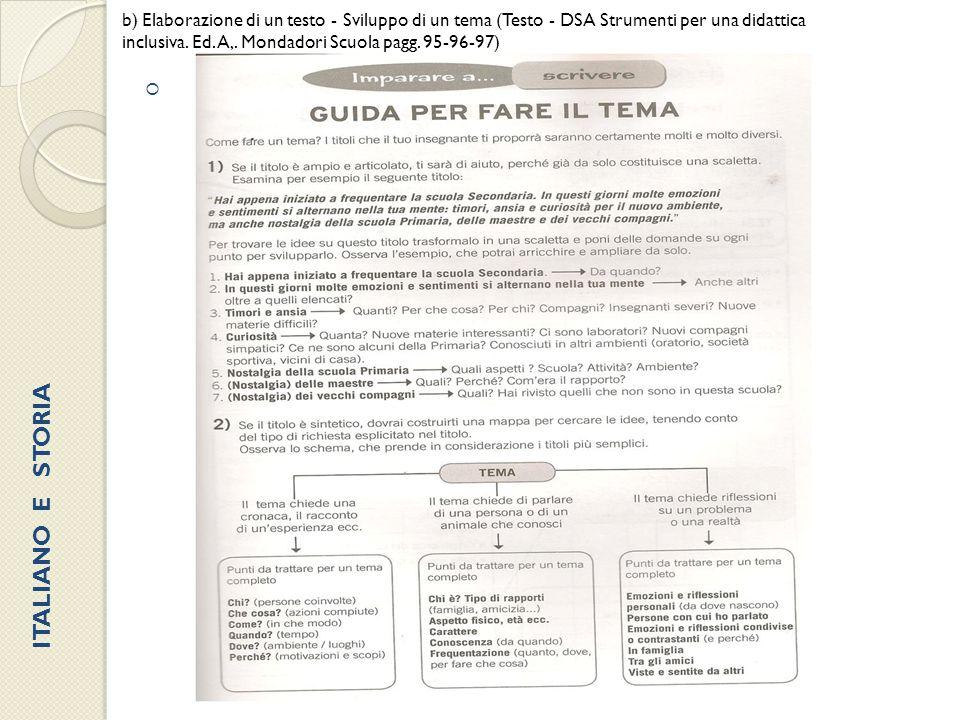  b) Elaborazione di un testo - Sviluppo di un tema (Testo - DSA Strumenti per una didattica inclusiva. Ed. A,. Mondadori Scuola pagg. 95-96-97) ITALI