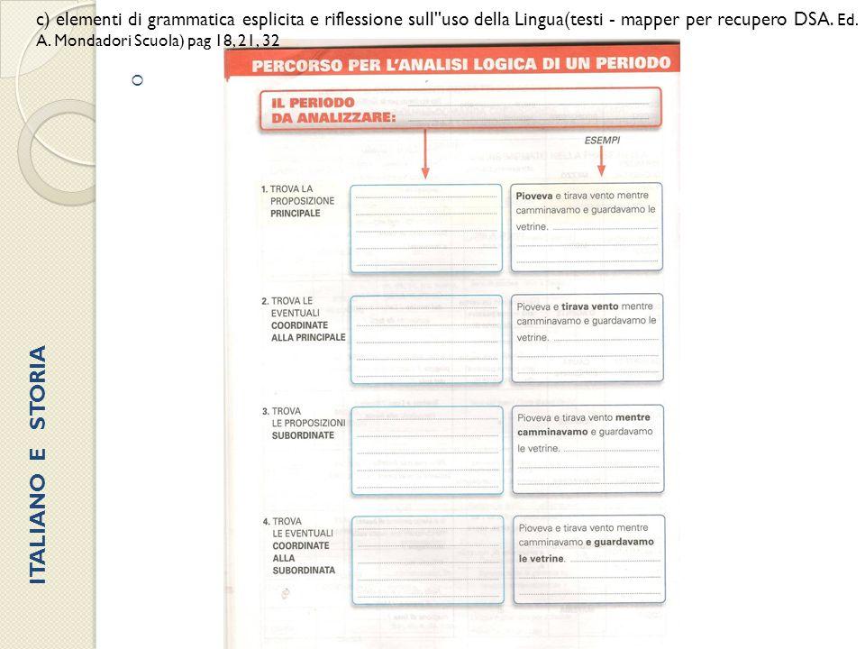  c) elementi di grammatica esplicita e riflessione sull''uso della Lingua(testi - mapper per recupero DSA. Ed. A. Mondadori Scuola) pag 18, 21, 32 IT