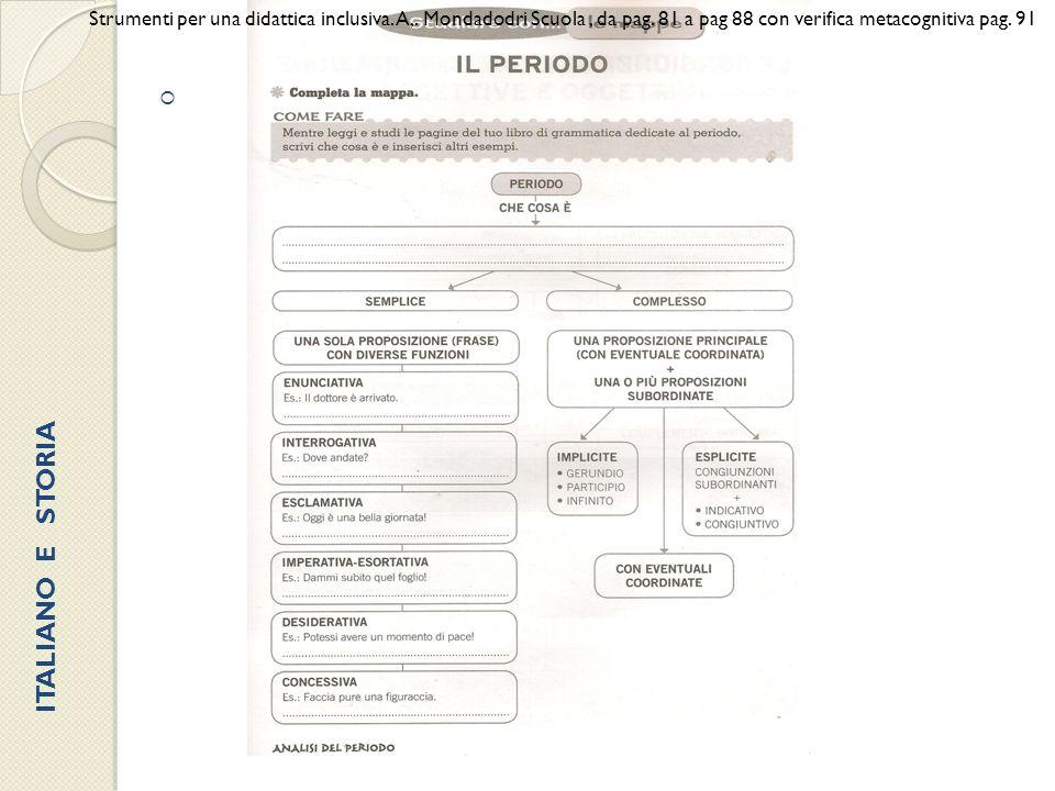  Strumenti per una didattica inclusiva. A,. Mondadodri Scuola, da pag. 81 a pag 88 con verifica metacognitiva pag. 91 ITALIANO E STORIA