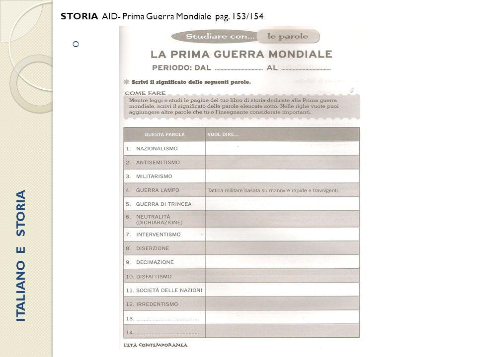  STORIA AID- Prima Guerra Mondiale pag. 153/154 ITALIANO E STORIA