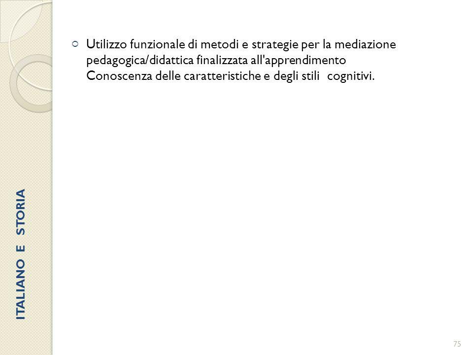  Utilizzo funzionale di metodi e strategie per la mediazione pedagogica/didattica finalizzata all'apprendimento Conoscenza delle caratteristiche e de