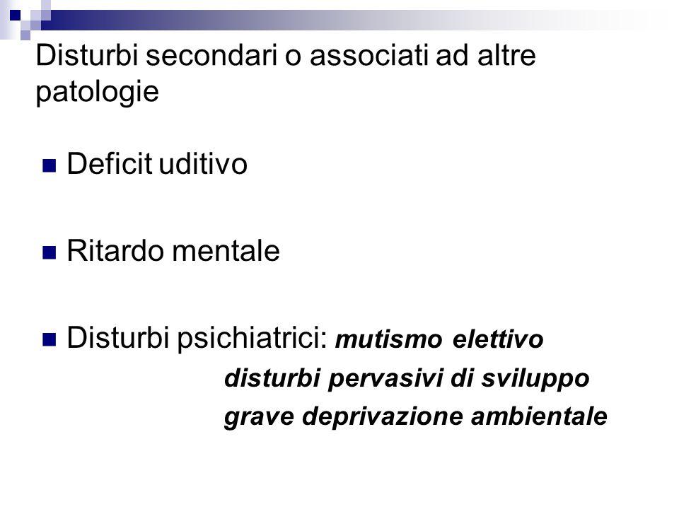 Disturbi secondari o associati ad altre patologie Deficit uditivo Ritardo mentale Disturbi psichiatrici: mutismo elettivo disturbi pervasivi di sviluppo grave deprivazione ambientale