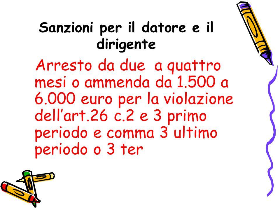 Sanzioni per il datore e il dirigente Arresto da due a quattro mesi o ammenda da 1.500 a 6.000 euro per la violazione dell'art.26 c.2 e 3 primo period