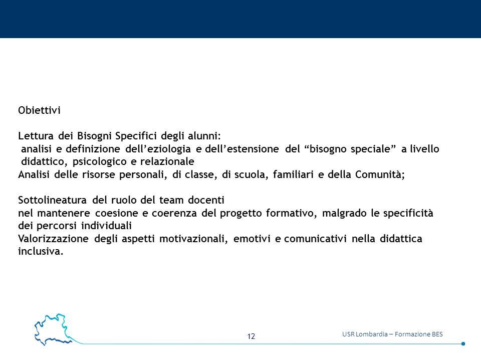 """12 USR Lombardia – Formazione BES Obiettivi Lettura dei Bisogni Specifici degli alunni: analisi e definizione dell'eziologia e dell'estensione del """"bi"""
