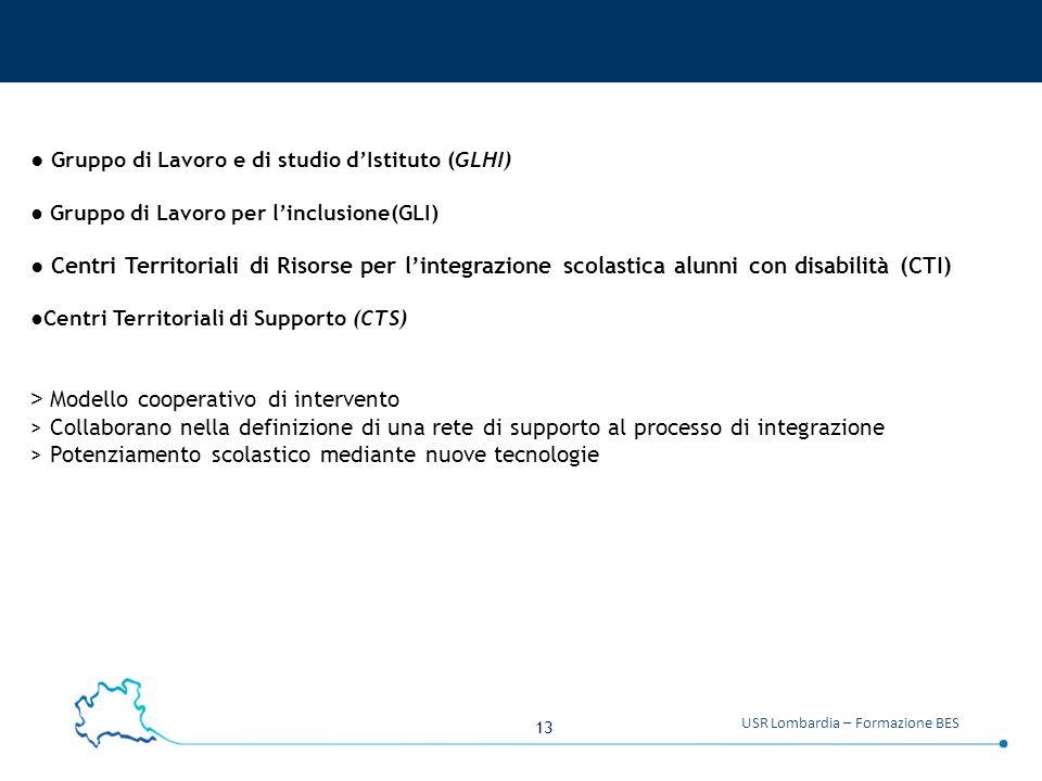 13 USR Lombardia – Formazione BES ● Gruppo di Lavoro e di studio d'Istituto (GLHI) ● Gruppo di Lavoro per l'inclusione(GLI) ● Centri Territoriali di R