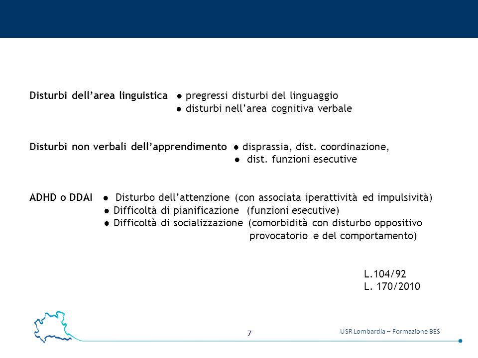 7 USR Lombardia – Formazione BES Disturbi dell'area linguistica ● pregressi disturbi del linguaggio ● disturbi nell'area cognitiva verbale Disturbi no
