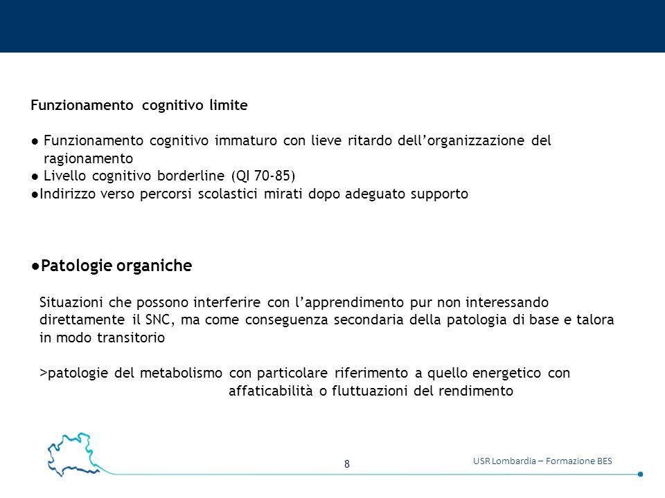 8 USR Lombardia – Formazione BES Funzionamento cognitivo limite ● Funzionamento cognitivo immaturo con lieve ritardo dell'organizzazione del ragioname