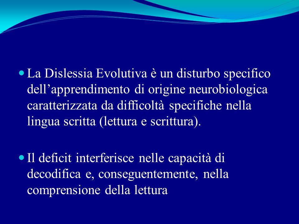 La Dislessia Evolutiva è un disturbo specifico dell'apprendimento di origine neurobiologica caratterizzata da difficoltà specifiche nella lingua scritta (lettura e scrittura).
