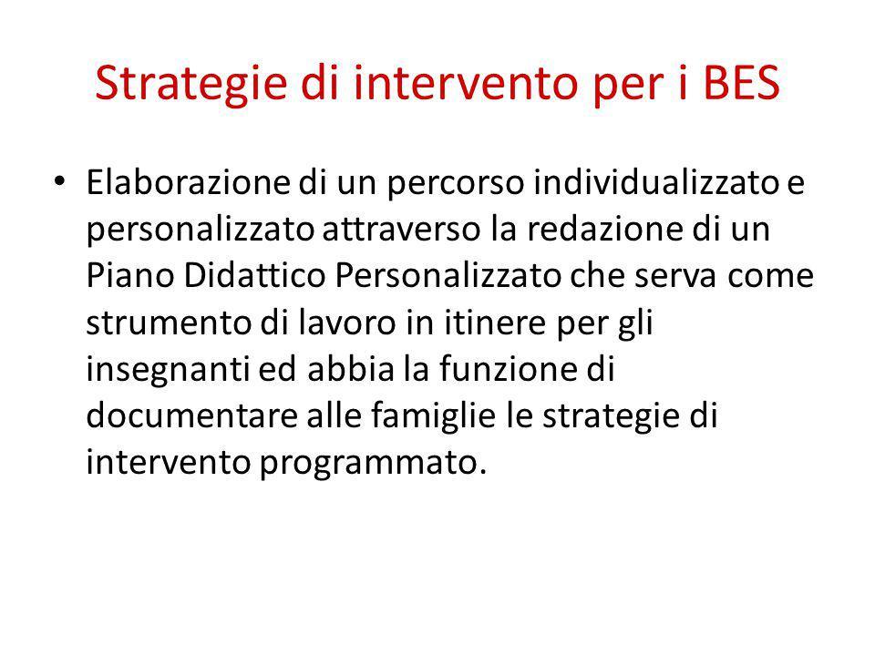 Strategie di intervento per i BES Elaborazione di un percorso individualizzato e personalizzato attraverso la redazione di un Piano Didattico Personalizzato che serva come strumento di lavoro in itinere per gli insegnanti ed abbia la funzione di documentare alle famiglie le strategie di intervento programmato.