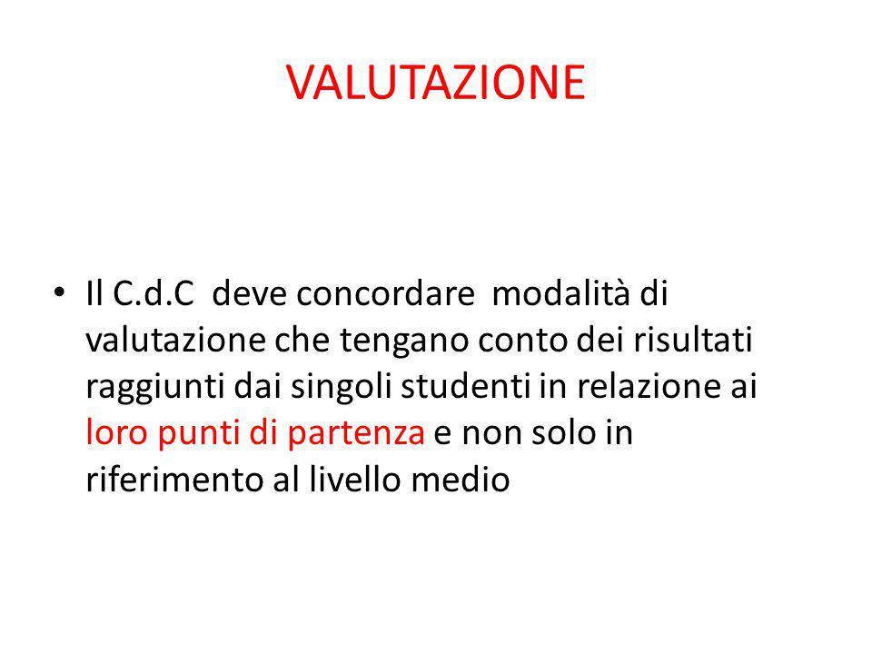 VALUTAZIONE Il C.d.C deve concordare modalità di valutazione che tengano conto dei risultati raggiunti dai singoli studenti in relazione ai loro punti di partenza e non solo in riferimento al livello medio