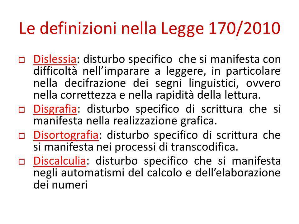 Le definizioni nella Legge 170/2010  Dislessia: disturbo specifico che si manifesta con difficoltà nell'imparare a leggere, in particolare nella deci
