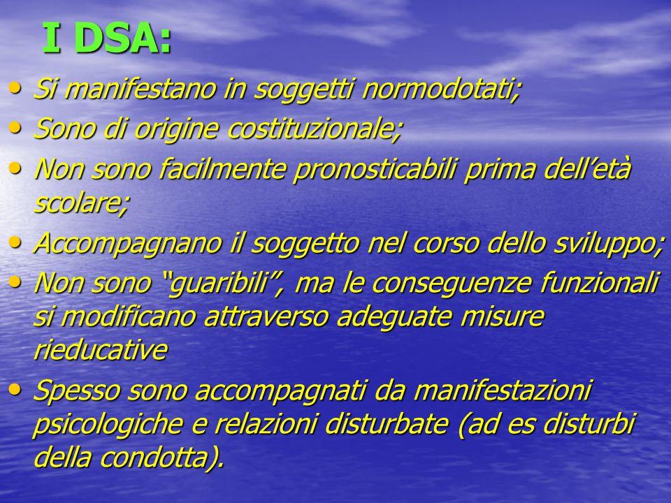 RIASSUMENDO… LA PRESENZA DI UN DSA SPESSO DETERMINA DIFFICOLTA' PSICOLOGICHE NELLE SEGUENTI AREE: LA PRESENZA DI UN DSA SPESSO DETERMINA DIFFICOLTA' PSICOLOGICHE NELLE SEGUENTI AREE: COMPORTAMENTO AUTOSTIMA CONTROLLO DELLA PROPRIA EMOTIVITA' AFFETTIVITA'