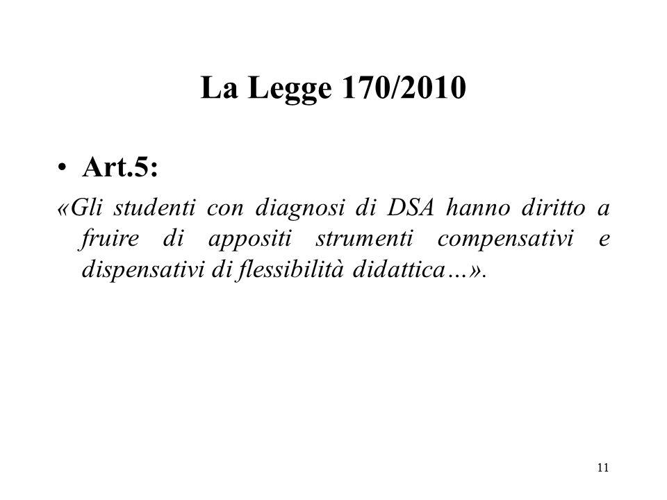 La Legge 170/2010 Art.5: «Gli studenti con diagnosi di DSA hanno diritto a fruire di appositi strumenti compensativi e dispensativi di flessibilità di