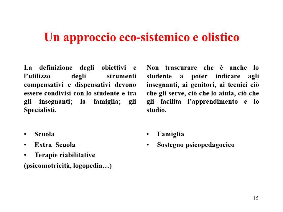 Un approccio eco-sistemico e olistico La definizione degli obiettivi e l'utilizzo degli strumenti compensativi e dispensativi devono essere condivisi