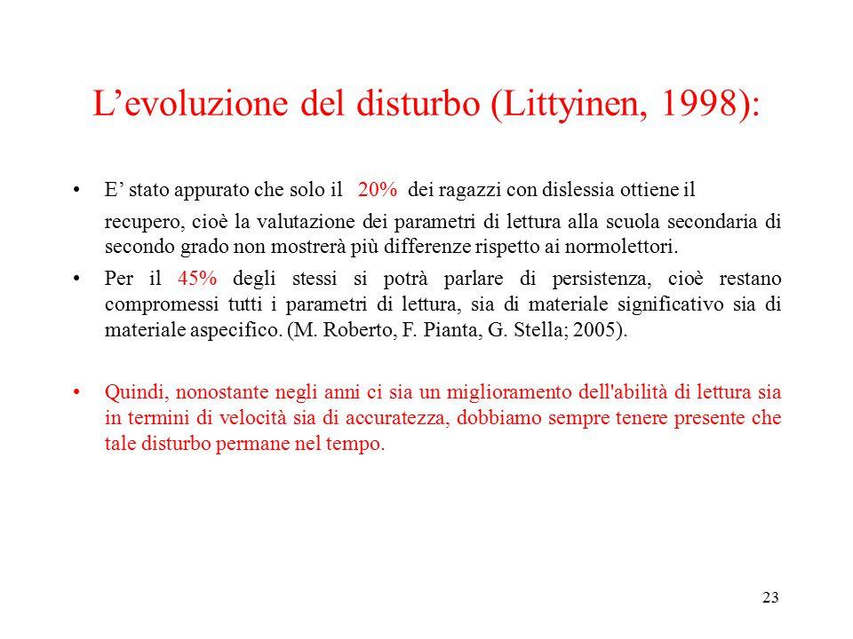 L'evoluzione del disturbo (Littyinen, 1998): E' stato appurato che solo il 20% dei ragazzi con dislessia ottiene il recupero, cioè la valutazione dei