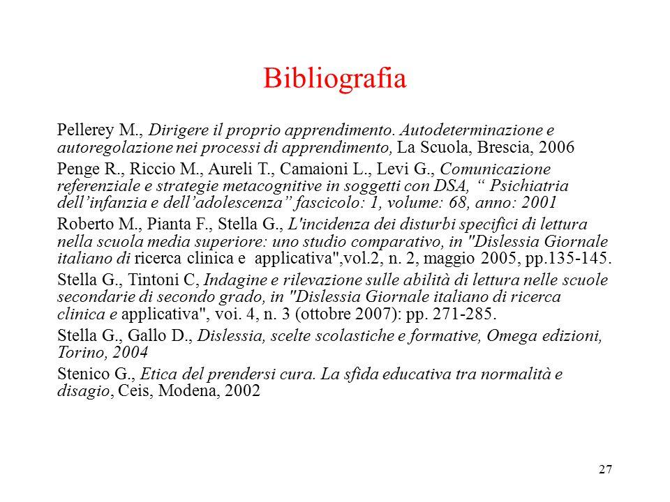 Bibliografia Pellerey M., Dirigere il proprio apprendimento. Autodeterminazione e autoregolazione nei processi di apprendimento, La Scuola, Brescia, 2
