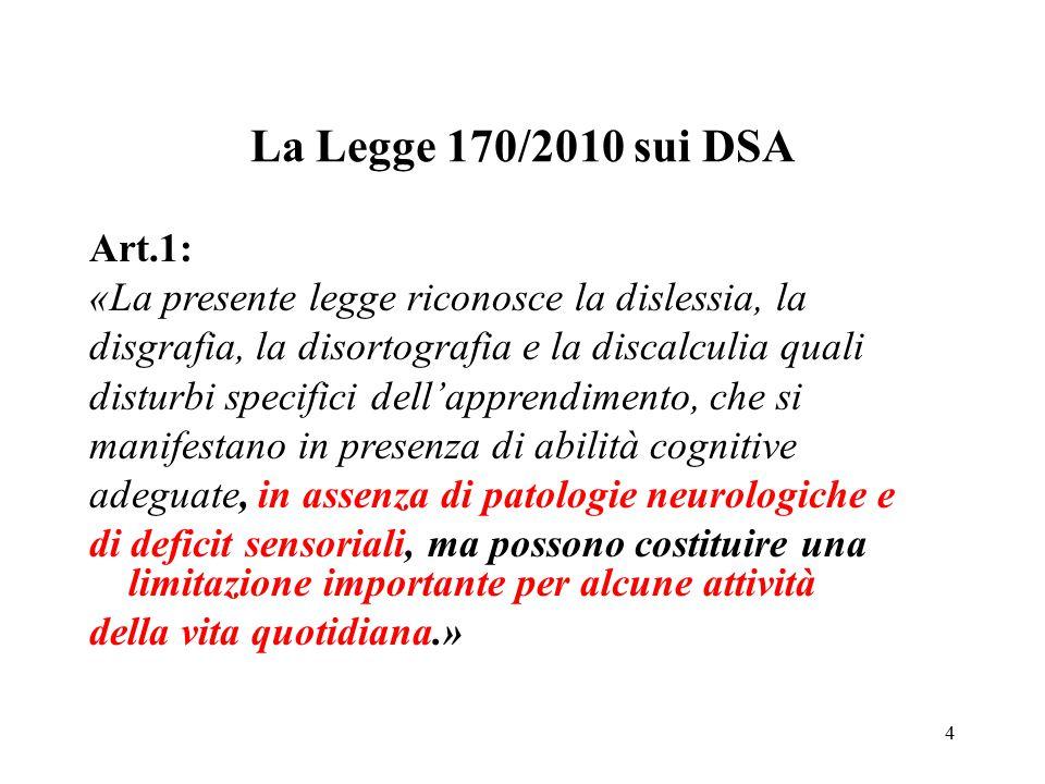 La Legge 170/2010 sui DSA Art.1: «La presente legge riconosce la dislessia, la disgrafia, la disortografia e la discalculia quali disturbi specifici d