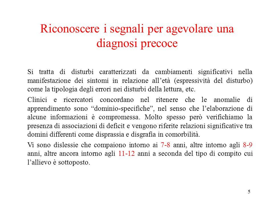 Riconoscere i segnali per agevolare una diagnosi precoce Si tratta di disturbi caratterizzati da cambiamenti significativi nella manifestazione dei si