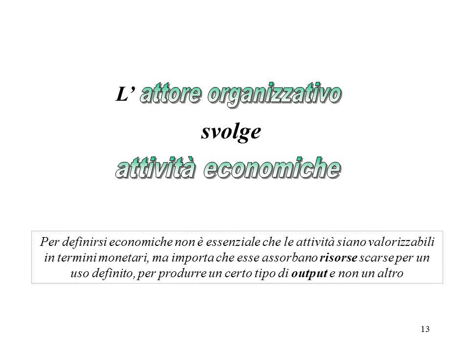 13 Per definirsi economiche non è essenziale che le attività siano valorizzabili in termini monetari, ma importa che esse assorbano risorse scarse per