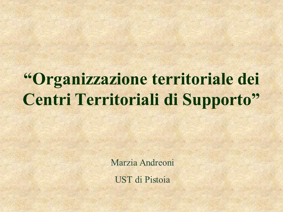 """""""Organizzazione territoriale dei Centri Territoriali di Supporto"""" Marzia Andreoni UST di Pistoia"""