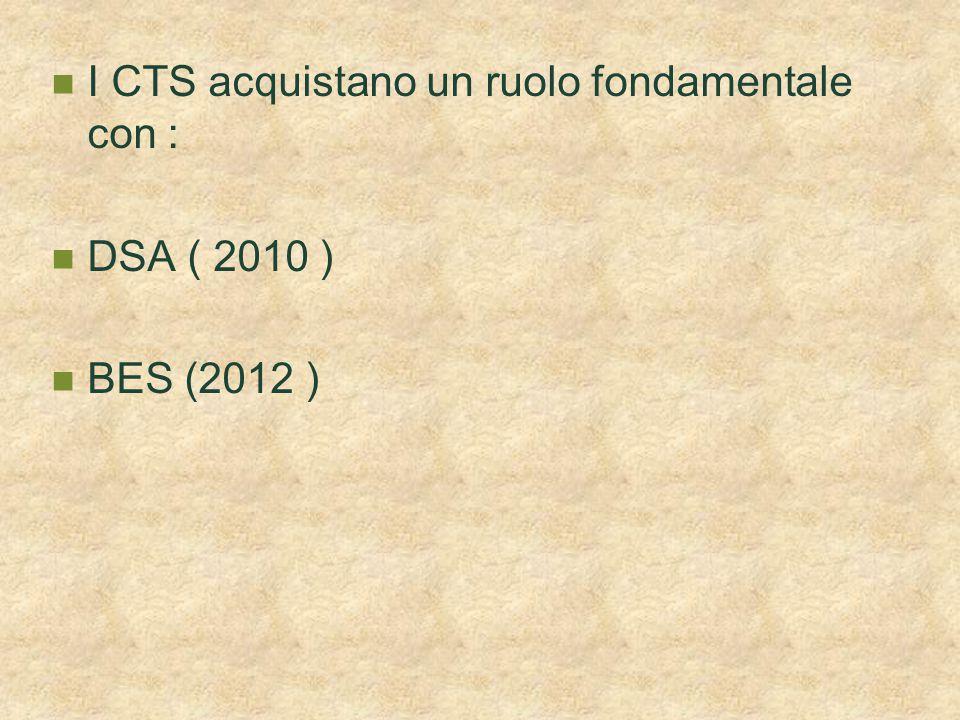 I CTS acquistano un ruolo fondamentale con : DSA ( 2010 ) BES (2012 )