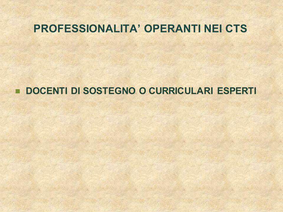 PROFESSIONALITA' OPERANTI NEI CTS DOCENTI DI SOSTEGNO O CURRICULARI ESPERTI