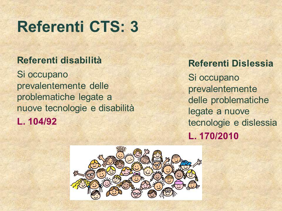 Referenti CTS: 3 Referenti disabilità Si occupano prevalentemente delle problematiche legate a nuove tecnologie e disabilità L. 104/92 Referenti Disle